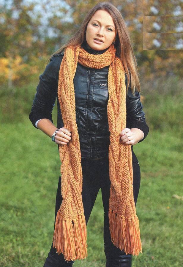 Длинный вязаный шарф спицами без обрыва нити