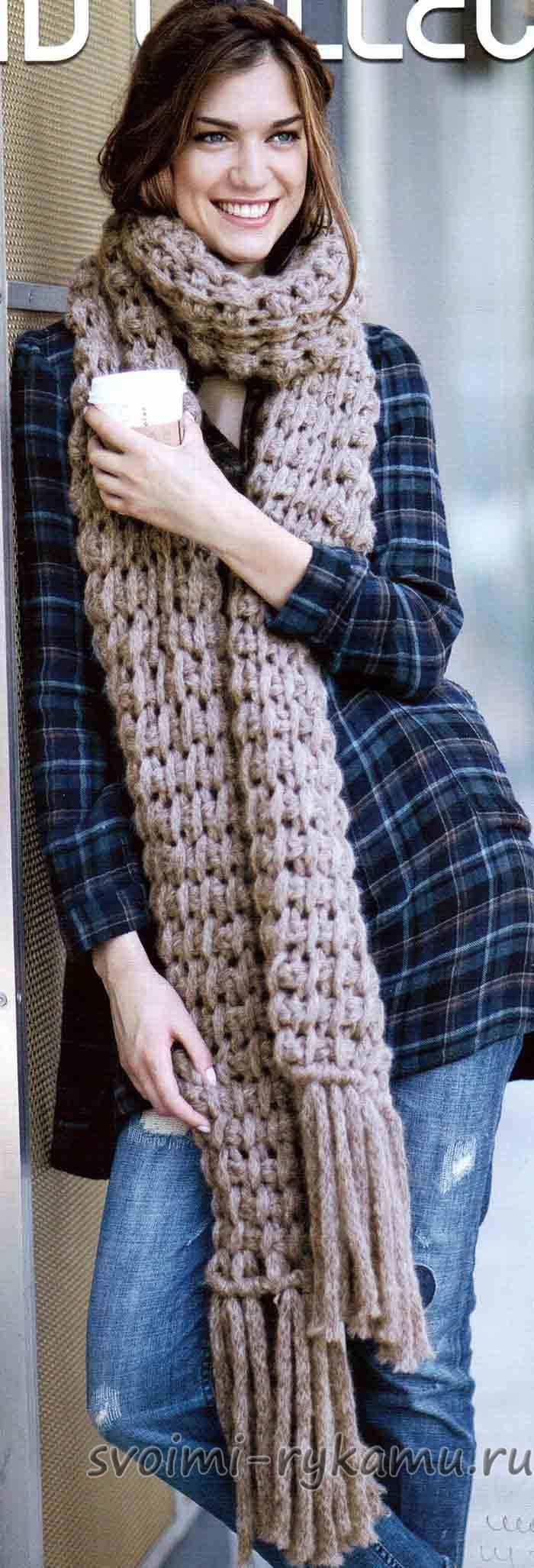 Вязание шарфа на спицах