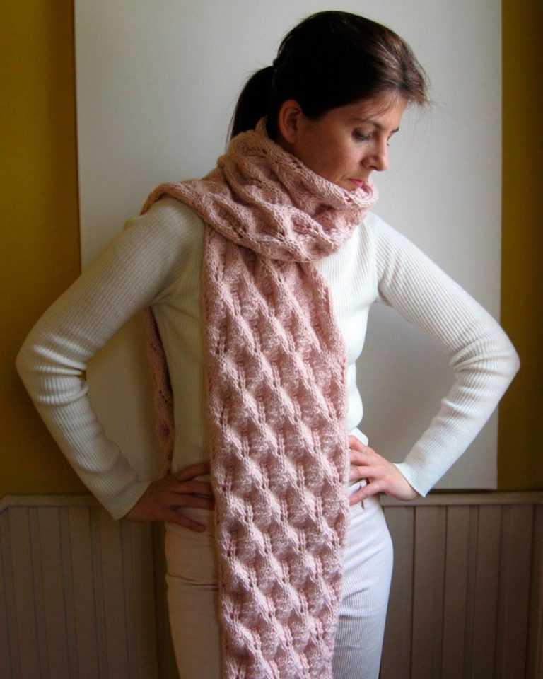 Как закончить вязание спицами - последний ряд шарфа -